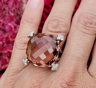 David Yurman Cushion Diamond Morganite Ring Sz 6