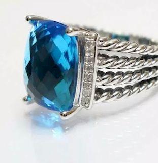 David Yurman Wheaton Blue Topaz Diamond Ring Sz 6