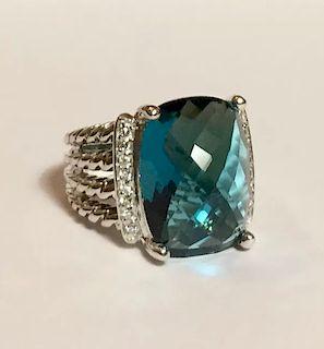 David Yurman Wheaton Hampton Blue Topaz Diamond Ring Sz