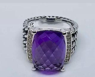 David Yurman Wheaton Amethyst Diamond Ring  Sz 6