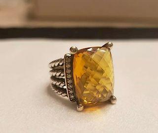 David Yurman Wheaton Citrine Diamond Ring Sz 6