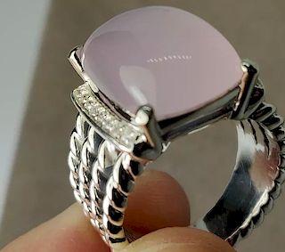 David Yurman Wheaton Pink Quartz Diamond Ring Sz 6