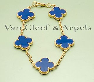 VAN CLEEF & ARPELS 18K ALHAMBRA LAPIS BRACELET