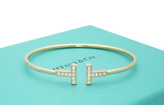 Tiffany and Co 18k Yellow Gold T Diamond Wire Bracelet