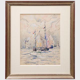 After Paul Signac (1863-1935): Bateaux