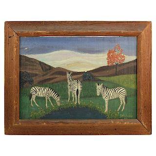 Lawrence Lebduska Folk Art Painting with Zebras