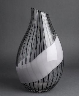Livio Seguso Murano Art Glass Striped Vase