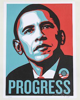 """Shepard Fairey """"Progress"""" 2008 Silkscreen on Paper"""