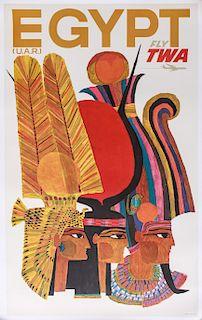 David Klein Egypt Fly TWA Offset Lithograph Poster