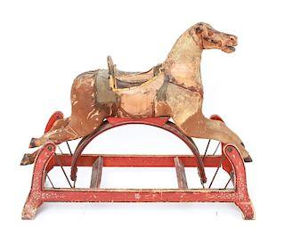 Animal Hide Rocking Horse, Antique