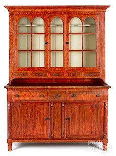 Pennsylvania painted poplar two-part cupboard