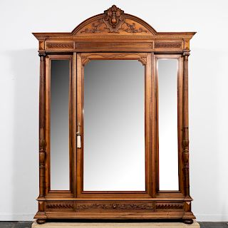 Renaissance Revival Three Door Carved Armoire