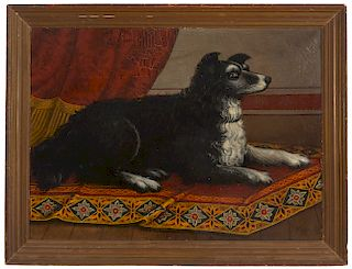 Fine Folk Art Painting of Dog