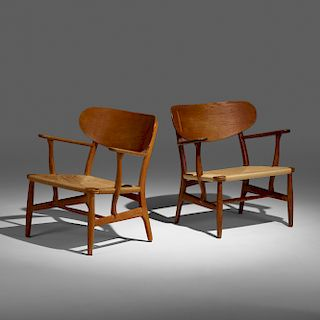 Hans J. Wegner, lounge chairs model CH22, set of two