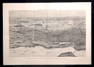 Davis Engraved Map of Saratoga Springs & Regatta - 1874
