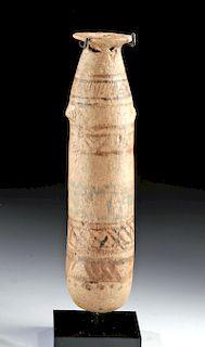 Tall Egyptian New Kingdom Polychrome Alabastron