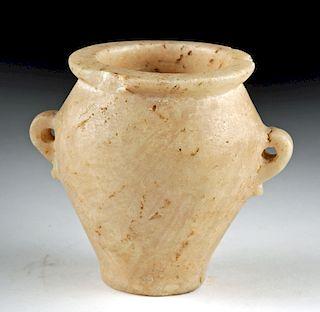 Egyptian Late Dynastic Alabaster Jar w/ Lug Handles