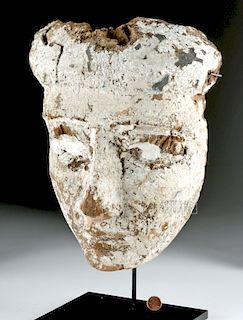 Egyptian Wood Sarcophagus Mask, Gesso Surface
