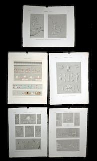 Five 19th C. French Engravings of Thebes Karnak Complex