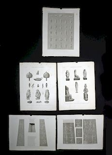 Five 19th C. French Engravings of Egyptian Artifacts