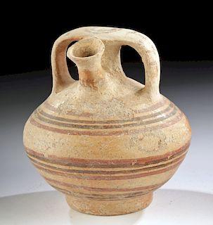 Greek Mycenaean Polychrome Stirrup Jar