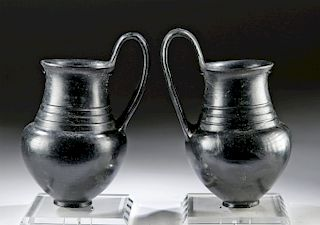 Etruscan Buccheroware Olpes, Matched Pair