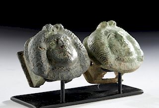 Roman Bronze Chariot Adornments w/ Medusa Faces (pr)