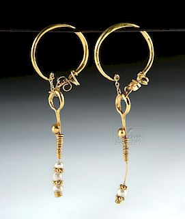 Roman 18K+ Gold Earrings w/ Natural Pearls (pr)