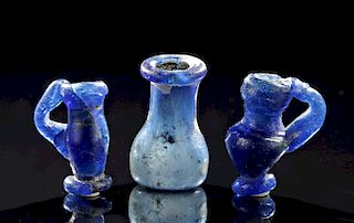 Miniature Roman Glass Vessels, Cobalt Blue (3)