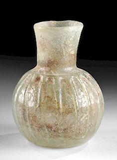 Roman Glass Flask, Ribbed Detailing