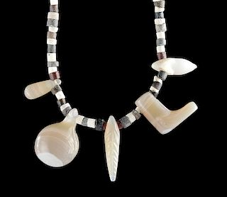 Sumerian Stone & Faience Necklace w/ Bactrian Agates