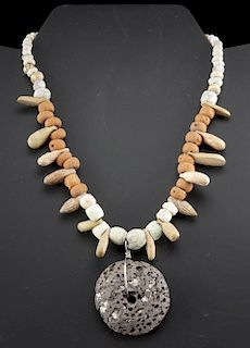 Necklace - Sumerian Faience + Roman Bone & Glass Bead