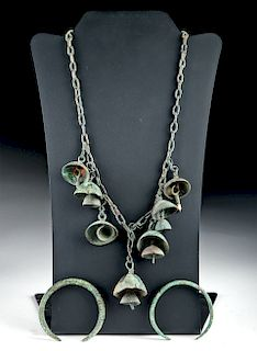 Luristan Bronze Bell Necklace + 2 Bronze Bracelets