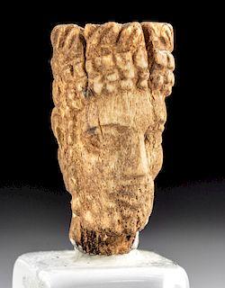 Miniature Mesopotamian Bone Head of a Bearded Male
