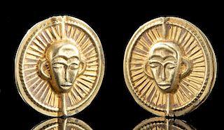 Phoenician 15K+ Gold Beads w/ Monkeys (set of 2)
