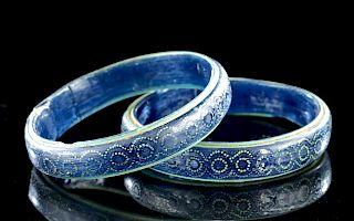 Gorgeous Byzantine Glass Bracelets, Enamel Designs (2)