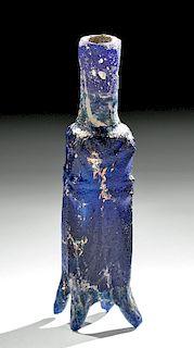 Rare Islamic Glass Molar Flask - Cobalt Blue