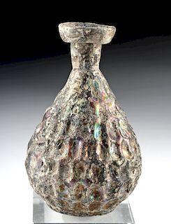 Lovely Byzantine Glass Bottle - Aubergine, Irridescence
