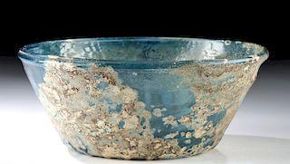 Islamic Glass Bowl - Blue Pattern Molded