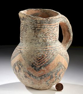 Ancient Central Asian Polychrome Pitcher