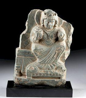Gandharan Schist Relief - Seated Female Bodhisattva