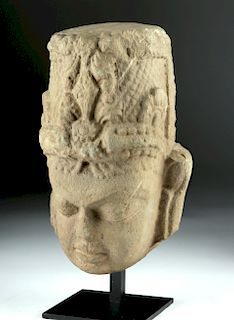 Lifesize 9th C. Indian Stone Head of Vishnu