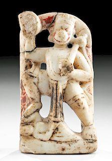19th C. Indian Alabaster Relief Panel - Hanuman