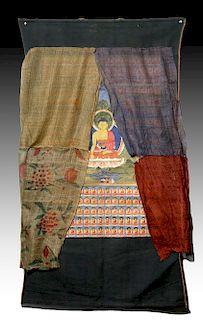 19th C. Tibetan Thangka -Shakyamuni & Series of Buddhas