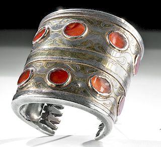 19th C. Turkoman Silver Bracelet w/ Carnelian Insets