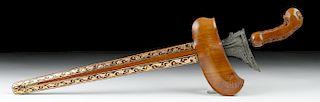 20th C. Indonesian Steel Kris w/ Wood, Gilded Sheath