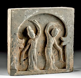 Chinese Han Dynasty Terracotta Plaque w/ Dancers