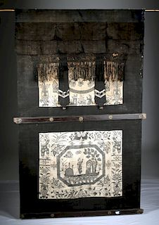 Large 19th C. Chinese Painted Textile
