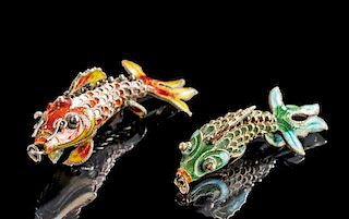 19th C. Japanese Enameled Silver Enamel Fish Charms (2)