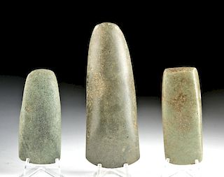 Maya Greenstone Ceremonial Celts (Group of 3)